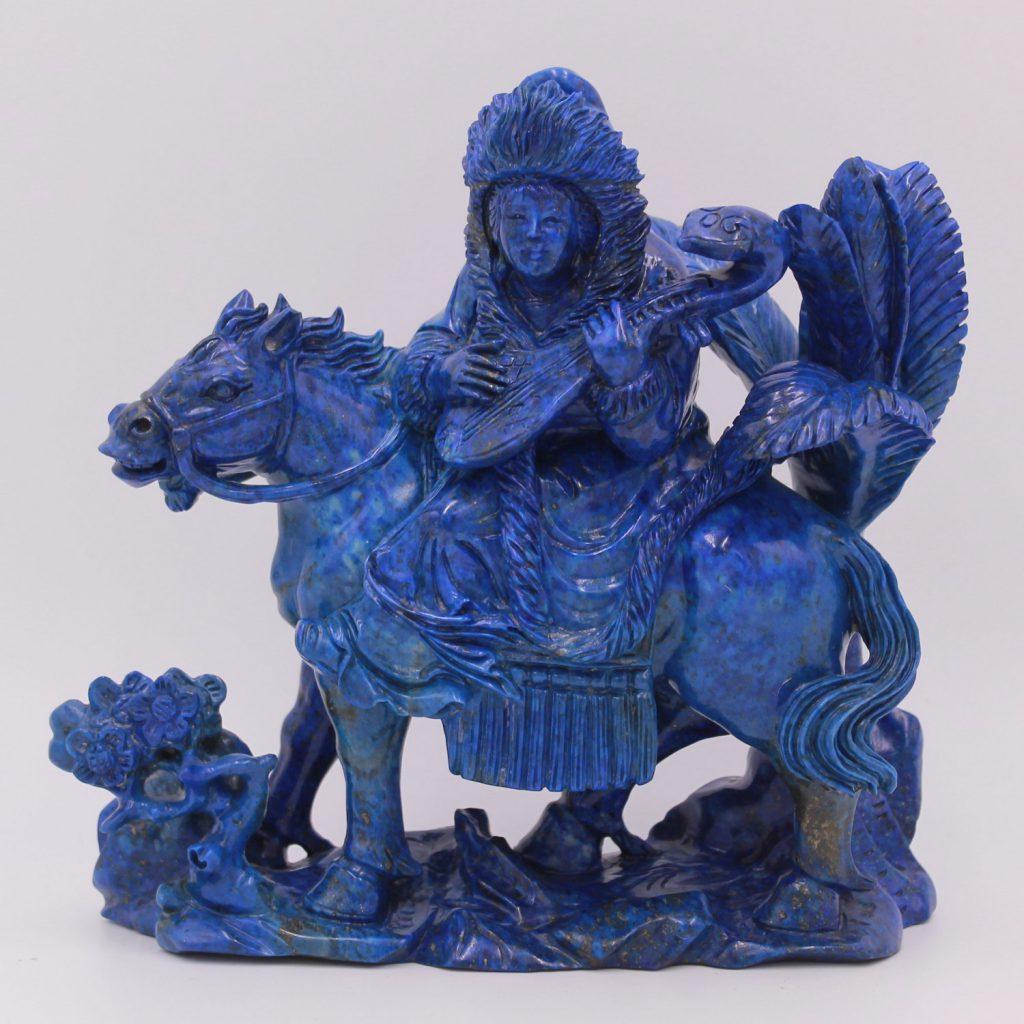 Sculpture en lapis lazuli Mulan chevauchant un cheval